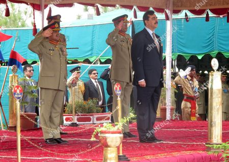 Pakistan Prime Minister Syed Yousuf Raza Gilani (r) Attends a Passing out Ceremony in Quetta Pakistan 11 October 2011 More Than 4500 Pakistani Army's Baloch Regiment Recruits Attended the Passing out Ceremony Pakistan Quetta