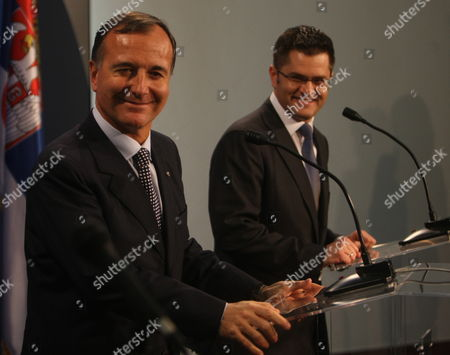 Serbian Foreign Minister Vuk Jeremic (r) and His Italian Counterpart Franco Frattini (l) Smiles During Press Conference in Belgrade Serbia October 12 2011 Frattini is on an Official Visit to Belgrade Serbia and Montenegro Belgrade