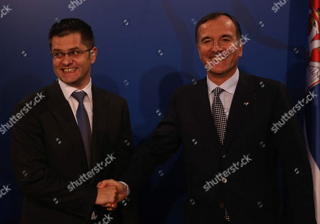 Italian Foreign Minister Franco Frattini (r) Shakes Hands with His Serbian Counterpart Vuk Jeremic (l) in Belgrade Serbia October 12 2011 Frattini is on an Official Visit to Belgrade Serbia and Montenegro Belgrade