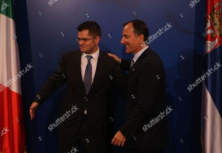 Italian Foreign Minister Franco Frattini (r) Greeted by His Serbian Counterpart Vuk Jeremic (l) in Belgrade Serbia October 12 2011 Frattini is on an Official Visit to Belgrade Serbia and Montenegro Belgrade
