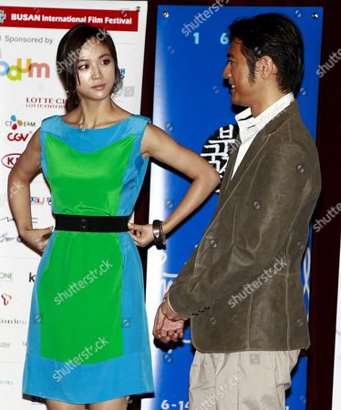 Chinese Actress Tang Wei (l) and Chinese-japanese Actor Takeshi Kaneshiro (r) Talk After a Press Conference of Their Film 'Wu Sia' by China-hong Kong Director Peter Chan at the 16th Busan International Film Festival (biff) Plaza in Busan South Korea 09 October 2011 the Biggest Film Festival in Asia Showcases 307 Films From 70 Countries From 06 to 14 October in Busan Korea, Republic of Busan