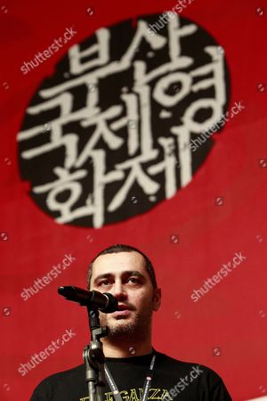 Italian Director Guido Lombardi Speaks During the Flash Forward Directors Presentation at the 16th Busan International Film Festival (biff) Plaza in Busan South Korea 10 October 2011 the Film Festival Which Showcases 307 Films From 70 Countries Runs From 06 to 14 October Korea, Republic of Busan