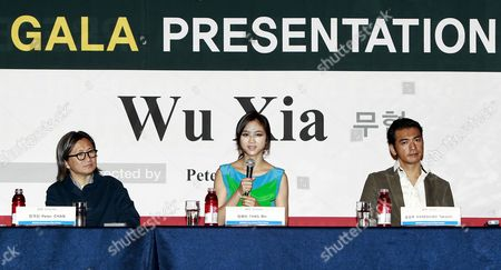 (l-r) China-hong Kong Director Peter Chan Chinese Actress Tang Wei and Chinese-japanese Actor Takeshi Kaneshiro Speak During a Press Conference of Their Film 'Wu Sia' by China-hong Kong Director Peter Chan at the 16th Busan International Film Festival (biff) Plaza in Busan South Korea 09 October 2011 the Biggest Film Festival in Asia Showcases 307 Films From 70 Countries From 06 to 14 October in Busan Korea, Republic of Busan