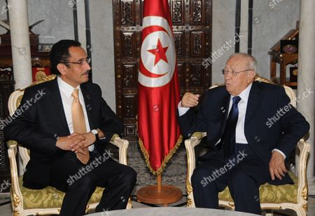 Tunisian Prime Minister Beji Caid Essebsi (r) Meets with Libya's National Transition Council (ntc) Vice Chairman and Spokesman Abdul Hafiz Ghoga in Tunis Tunisia on 11 October 2011 Ghoga Arrived in Tunisia on 06 October with a Group of Injured Rebels For Medical Treatment in Tunisia Tunisia Tunis