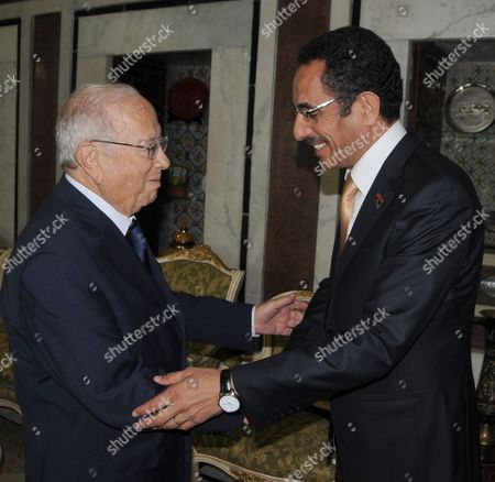 Tunisian Prime Minister Beji Caid Essebsi (l) Greets Libya's National Transition Council (ntc) Vice Chairman and Spokesman Abdul Hafiz Ghoga in Tunis Tunisia on 11 October 2011 Ghoga Arrived in Tunisia on 06 October with a Group of Injured Rebels For Medical Treatment in Tunisia Tunisia Tunis