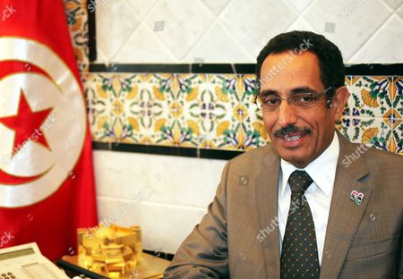 Libya's National Transition Council (ntc) Vice Chairman and Spokesman Abdul Hafiz Ghoga Looks on During His Meeting with Tunisian Secretary of State For Foreign Affairs Radhouan Nouisser (not Pictured) in Tunis Tunisia on 07 October 2011 Ghoga Arrived in Tunisia on 06 October with a Group of Injured Rebels For Medical Treatment in Tunisia Tunisia Tunis