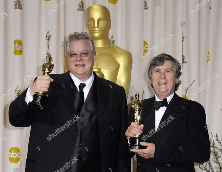 Stock Image of Tom Fleischmann (l) and John Midgley (r) Hold the Oscar For Achievement in Sound Mixing For 'Hugo' During the 84th Annual Academy Awards at the Hollywood and Highland Center in Hollywood California Usa 26 February 2012 the Oscars Are Presented For Outstanding Individual Or Collective Efforts in Up to 24 Categories in Filmmaking United States Hollywood