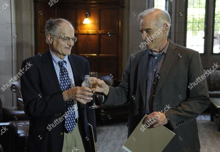 Economics Professor From Princeton University Christopher Sims (r) and Professor Thomas J Sargent of New York University Raise a Toast at a Reception After a Press Conference at Princeton University in Princeton New Jersey Usa 10 October 2011 Sims and Sargent Were Awarded the 2011 Sveriges Riksbank Prize in Economic Sciences in Memory of Alfred Nobel For Their Research Which Looked at the Cause-and-effect Relationship Between Economic Policy and the Broader Economy United States Princeton