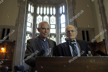 Economics Professor From Princeton University Christopher Sims (l) and Professor Thomas J Sargent of New York University Attend Reception After at a Press Conference at Princeton University in Princeton New Jersey Usa 10 October 2011 Sims and Sargent Were Awarded the 2011 Sveriges Riksbank Prize in Economic Sciences in Memory of Alfred Nobel For Their Research Which Looked at the Cause-and-effect Relationship Between Economic Policy and the Broader Economy Epa/peter Foley United States Princeton