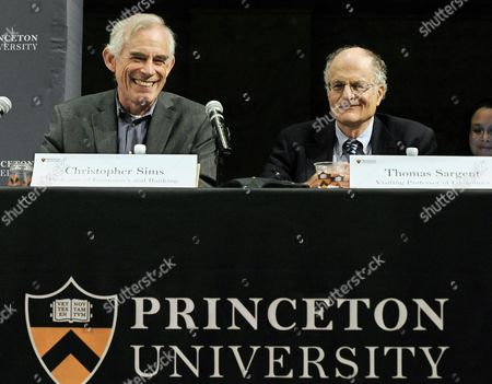 Economics Professor From Princeton University Christopher Sims (l) and Professor Thomas J Sargent of New York University Attend at a Press Conference at Princeton University in Princeton New Jersey Usa 10 October 2011 Sims and Sargent Were Awarded the 2011 Sveriges Riksbank Prize in Economic Sciences in Memory of Alfred Nobel For Their Research Which Looked at the Cause-and-effect Relationship Between Economic Policy and the Broader Economy United States Princeton