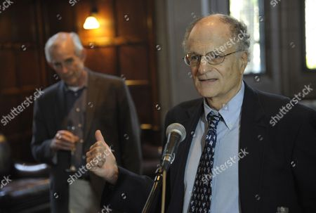 Economics Professor Thomas J Sargent of New York University (r) Speaks As Economics Professor From Princeton University Christopher Sims Listens at at a Reception After a Press Conference at Princeton University in Princeton New Jersey Usa 10 Octobe 2011 Sims and Sargent Were Awarded the 2011 Sveriges Riksbank Prize in Economic Sciences in Memory of Alfred Nobel For Their Research Which Looked at the Cause-and-effect Relationship Between Economic Policy and the Broader Economy Epa/peter Foley United States Princeton