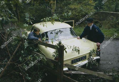 Toby Cockerell (as Scott Windsor) and Richard Redpath (as Glen) as in response to Glenn's taunts, Scott hotwires Vic's Ford Zephyr, but Glenn crashes it (Ep 1819 - 23rd November 1993)