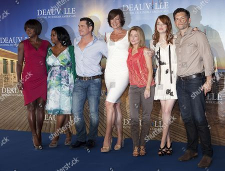 Stock Image of Cast and Crew Members (l-r) Us Actress Viola Davis Us Actress Octavia Spencer Us Director Tate Taylor Us Actress Allison Janney Us Screenwriter Kathryn Stockett Us Actress Emma Stone and Us Actor Mike Vogel Pose During the Photocall of 'The Help' During the 37th Deauville American Film Festival in Deauville France 03 September 2011 the Movie is Presented in the Premieres Section of the Festival That Runs From 02 to 11 September France Deauville