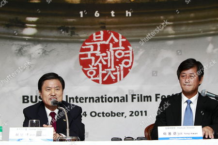 Stock Picture of Busan International Film Festival Chairman and Mayor of Busan Hur Nam-sik (l) Speaks As Festival Director Lee Yong-kwan (r) Looks on During a Press Conference in Seoul South Korea 08 September 2011 307 Films From 70 Countries Will Presented During the the Busan International Film Festival That Runs From 06 to 14 October Korea, Republic of Seoul
