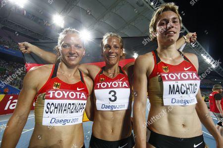 German Athletes Jennifer Oeser (c) Lilli Schwarzkopf (l) and Julia M?chtig (r) Celebrate After the Womens Heptathlon at the 13th Iaaf World Championships in Daegu Republic of Korea 30 August 2011 Korea, Republic of Daegu