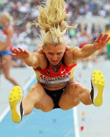Lilli Schwarzkopf of Germany Competes in the Long Jump Competition of the Heptathlon Event at the 13th Iaaf World Championships in Daegu Republic of Korea 30 August 2011 Korea, Republic of Daegu