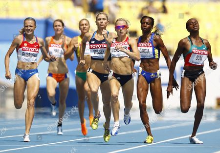 Yuliya Rusanova From Russia (l) Eunice Jepkoech Sum From Kenya (r) Rosibel Garc?a From Colombia (2-r) Jennifer Meadows From Britain (3-r) and Maggie Vessey From the Us (4-r) Compete in the Womens 800m Round 1 During the 13th Iaaf World Championships in Daegu Republic of Korea 01 September 2011 Korea, Republic of Daegu