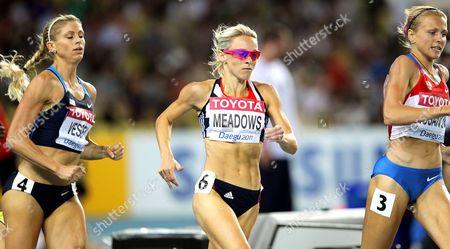 Maggie Vessey (l) of the Us Jennifer Meadows (c) of Britain Andyuliya Rusanova (r) of Russia Compete in the Women 800m Semi Final During the 13th Iaaf World Championships in Daegu Republic of Korea 02 September 2011 Korea, Republic of Daegu