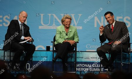Nevada Governor Brian Sandoval (r) and Washington Governor Christine Gregoire (c) Listen As California Governor Jerry Brown (l) Talks About Tortoises Western Governor's Panel on Energy at the National Clean Energy Summit 4 0: the Future of Energy in Las Vegas Nevada Usa 30 August 2011 the Energy Summit Brings Together Leaders in the Scientific Energy Environmental and Political Arenas to Exchange Ideas and Promote Sustainable Economical Clean Energy Efforts Products and Projects United States Las Vegas