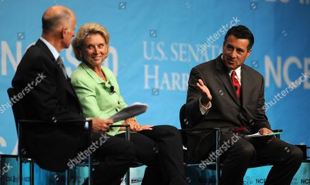 Nevada Governor Brian Sandoval (r) Gestures Towards California Governor Jerry Brown (l) and Washington Governor Christine Gregoire (c) During the Western Governor's Panel on Energy at the National Clean Energy Summit 4 0: the Future of Energy in Las Vegas Nevada Usa on 30 August 2011 the Energy Summit Brings Together Leaders in the Scientific Energy Environmental and Political Arenas to Exchange Ideas and Promote Sustainable Economical Clean Energy Efforts Products and Projects United States Las Vegas