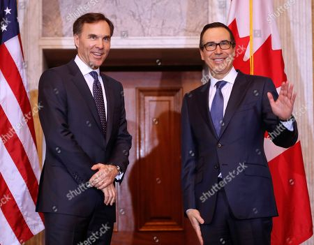 Donald Trump, Steven T. Mnuchin, William F. Morneau Treasury Secretary Steven Mnuchin stands with Canadian Finance Minister William F. Morneau before their bilateral meeting at the Treasury Department in Washington