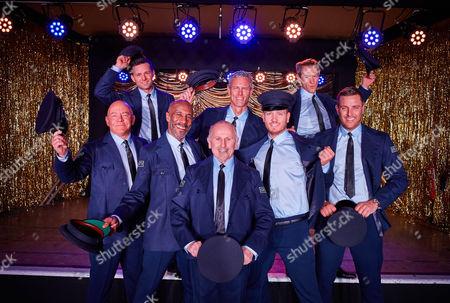 (l-r) Back Row: Harry Judd, Mark Foster and Alexander Armstrong.  (l-r) Front Row: Dominic Littlewood, Danny John Jules, Wayne Sleep, Matthew Wolfenden and Elliott Wright