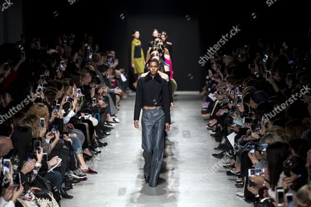 Stock Picture of Models present creations from the Fall/Winter 2017/18 Ready to Wear collection by US designer Adam Andrascik for Guy Laroche during the Paris Fashion Week, in Paris, France, 01 March 2017. The presentation of the Women's Ready to Wear collections runs from 28 February to 07 March.