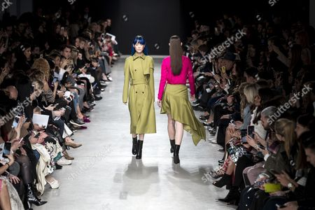Stock Image of Models present creations from the Fall/Winter 2017/18 Ready to Wear collection by US designer Adam Andrascik for Guy Laroche during the Paris Fashion Week, in Paris, France, 01 March 2017. The presentation of the Women's Ready to Wear collections runs from 28 February to 07 March.