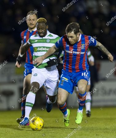 Moussa Dembele of Celtic with Greg Tansey of Inverness Caledonian Thistle during the SPFL Ladbrokes Premiership match between Inverness Caledonian Thistle & Celtic at the Tulloch Caledonian Stadium, Inverness on 1st March