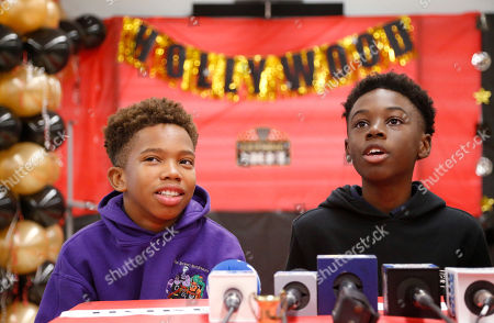 """Alex Hibbert, Jaden Piner Jaden Piner, left, 13, and Alex Hibbert, 12, speak about what it was like to be at the Academy Awards for their part in the film """"Moonlight,"""" during a news conference at Norland Middle School, in Miami Gardens, Fla. The film garnered three Oscars Sunday night, including the award for best picture"""