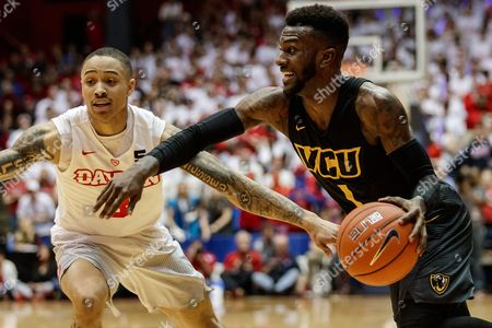 st, Virginia Commonwealth Rams guard JeQuan Lewis (1) looks for an open man while Dayton Flyers guard Kyle Davis (3) defends during NCAA basketball game action between the Virginia Commonwealth University Rams and the Dayton Flyers at University of Dayton Arena, Dayton, OH