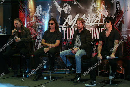 (L-R) Members of Mexican band Mana, Fher Olvera, Juan Calleros, Sergio Vallin and Alex Gonzalez participate in a press conference in La Paz, Bolivia, 01 March 2017. Mana is in Bolivia as part of their 'Latino Power Tour'.