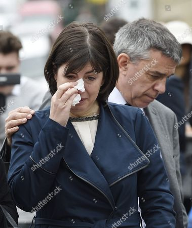 Stock Photo of Labour Mp Jeff Smith (r) Hugs Fellow Mp Paula Sherriff (l) As They React Next to the Scene where the Labour Mp was Shot Birtsall Britain 17 June 2016 Labour Mp Jo Cox was Reported Dead at the Hospital in Leeds After Being Shot and Critically Injured in Birstall Cox was Airlfted From the Attack Scene to a Hospital in Leeds where She Later Died Cox Had in Recent Weeks Campaigned For the Remain Camp Brits Will Vote on Whether They Want Remain in the Eu on 23 June United Kingdom Birtsall