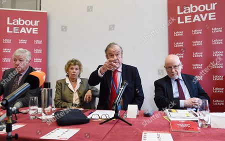 Labour Donor and Co Founder of 'Labour Leave' John Mills (2-r) Addresses the Press During a Labour Leave Eu Press Conference with Labour Memeber of Parliament Graham Stringer (l) Labour Member of Parliament Kate Hoey (2-l) and Labour Member of Parliament Kelvin Hopkins (r) in Central London Britain 19 January 2016 British Prime Minister David Cameron is Hoping to Hold a Referendum on Wether the Uk Should Leave the Eu Or Stay by the Summer of 2016 United Kingdom London