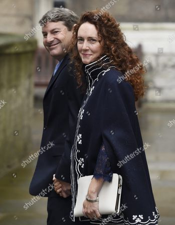 Rebekah Brooks Chief Executive of News Uk and Her Husband Charlie Arrive at St Bride's Church For a Service to Celebrate the Wedding Between Australian-born Us Media Mogul Rupert Murdoch and Former Us Model Jerry Hall in London Britain 05 March 2016 United Kingdom London