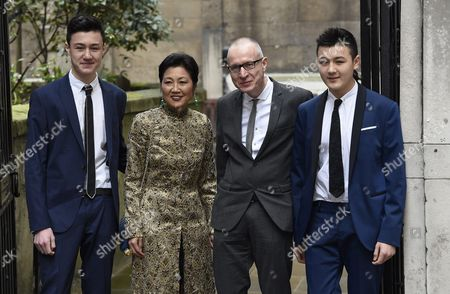 Chief Executive of News Corp Robert Thomson (2-r) and Family Arrive at St Bride's Church For a Service to Celebrate the Wedding of Australian-born Us Media Mogul Rupert Murdoch and Former Us Model Jerry Hall in London Britain 05 March 2016 United Kingdom London