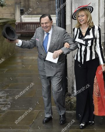 Barry Humphries (l) and Lizzie Spender Arrive at St Bride's Church For a Service to Celebrate the Wedding Between Australian-born Us Media Mogul Rupert Murdoch and Former Us Model Jerry Hall in London Britain 05 March 2016 United Kingdom London