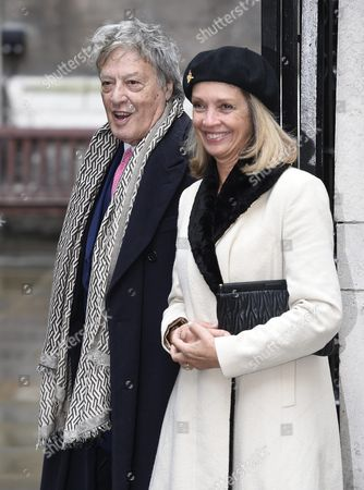 British Playwirght Tom Stoppard and His Wife Sabrina Guinness Arrive at St Bride's Church For a Service to Celebrate the Wedding Between Australian-born Us Media Mogul Rupert Murdoch and Former Us Model Jerry Hall in London Britain 05 March 2016 United Kingdom London