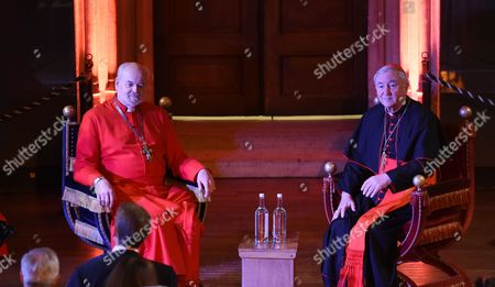 The Cardinal Vincent Nichols (r) and the Bishop of London Richard Chartres (l) Are in Conservation in the Great Hall at Hampton Court Palace in London Britain 09 February 2016 the Archbishop of Westminster Will Lead the First Catholic Service at Hampton Court Palace in More Than 450 Years with the the Bishop of London Richard Chartres That Also Takes Part in the Ceremony the Service Which Will Be Held Mainly in Latin is Convened to Celebrate the Chapel's Musical Heritage As the Personal Chapel of Henry Viii Hampton Court Palace was the Backdrop For Much Religious Turmoil in the 1530's During the Events of the Reformation in England when Henry Severed the Links Between Christianity in England and the Vatican United Kingdom London