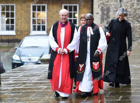 The Archbishop of Canterbury Justin Welby (l) with the Archibishop of York Dr John Sentamu (c) Arrive at Church House to Meet the Queen in London Britain 24 November 2015 the Queen and Prince Philip the Duke of Edinburgh (2-l) Attended the Inauguration of the Tenth General Synod United Kingdom London