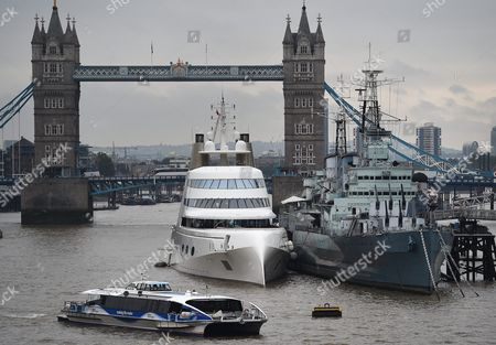A Super Yacht Owned by Russian Billionaire Andrey Melnichenko is Moored Next to Hms Belfast on the Thames in London Britain 07 September 2016 the 250 Million Euro Vessel Boasting Three Swimming Pools and a Rotating Bed Arrived in London This Week United Kingdom London