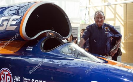 Stock Photo of Richard Noble Director of the Bloodhound Project Stands Next to the Bloodhound Ssc Car Which was Unveiled During a Press Preview in Central London Britain 24 September 2015 the Uk Led Bloodhound Project Will Attempt to Break the Land Speed Record in South Africa in 2016 by Going Over 1600km/h in a Specially Design Supersonic Car United Kingdom London