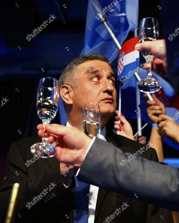 Opposition's Leader Tomislav Karamarko of the Croatian Democratic Union (hdz) Celebrates the Party's Victory in Downtown Zagreb Croatia 08 November 2015 the Conservative Hdz Won 59 Seats in the 151-seat Parliament Against the 55 of Prime Minister Zoran Milanovic's Social Democratic Party (sdp) Croatian People Voted in the Parliamentary Election to Elect New Authorities For the Next Four Years the Exact Number of Seats Secured by Each Party Could Still Move But the Trend Appeared Firm Croatia Zagreb