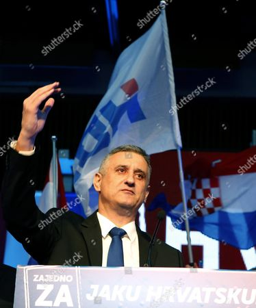 Opposition's Leader Tomislav Karamarko of the Croatian Democratic Union (hdz) Gestures As He Celebrates the Party's Victory in Downtown Zagreb Croatia 08 November 2015 the Conservative Hdz Won 59 Seats in the 151-seat Parliament Against the 55 of Prime Minister Zoran Milanovic's Social Democratic Party (sdp) Croatian People Voted in the Parliamentary Election to Elect New Authorities For the Next Four Years Croatia Zagreb