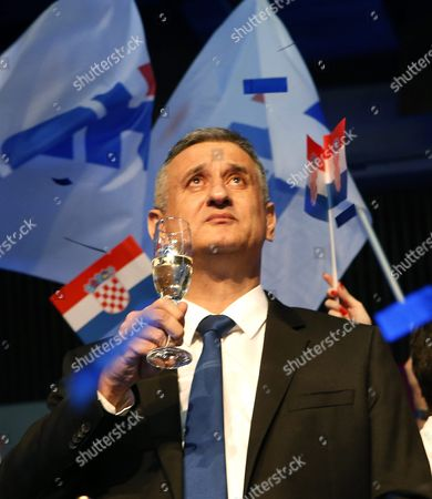 Opposition's Leader Tomislav Karamarko of the Croatian Democratic Union (hdz) Celebrates the Party's Victory in Downtown Zagreb Croatia 08 November 2015 the Conservative Hdz Won 59 Seats in the 151-seat Parliament Against the 55 of Prime Minister Zoran Milanovic's Social Democratic Party (sdp) Croatian People Voted in the Parliamentary Election to Elect New Authorities For the Next Four Years Croatia Zagreb