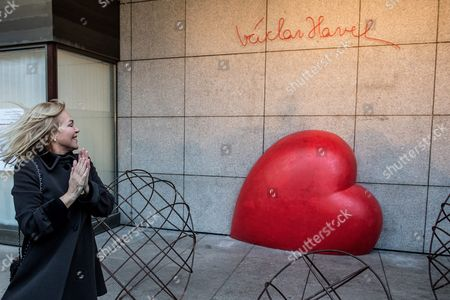 The Widow of the Late Czech Republic's President Vaclav Havel Dagmar Havlova Looks at a Heart Memorial Created by Czech Sculptor Kurt Gebauera in Preparation of the 80th Anniversary of President Havel's Birth Czech Republic 04 October 2016 the Czech Republic Will Mark the 80th Birthday Anniversary of Havel on 05 October Czech Republic Prague