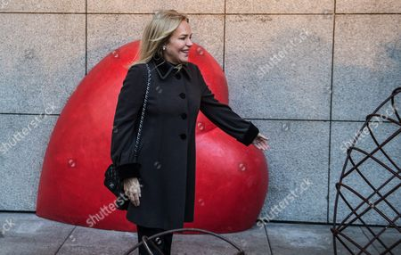 The Widow of the Late Czech Republic's President Vaclav Havel Dagmar Havlova Poses For Photos During the Official Unveiling of a Heart Memorial Created by Czech Sculptor Kurt Gebauera in Preparation of the 80th Anniversary of President Havel's Birth Czech Republic 04 October 2016 the Czech Republic Will Mark the 80th Birthday Anniversary of Havel on 05 October Czech Republic Prague