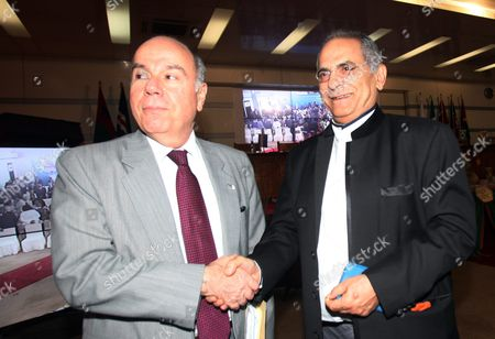 Brazilian Minister of External Relations Mauro Vieira (l) Greets Former East Timor President Jose Ramos Horta (r) During Their Meeting in Dili East Timor Known Also As Timor Leste 24 July 2015 Timor-leste is Hosting a Meeting Between Portuguese-speaking Countries (portugal Angola Brazil Cape Verde Guinea Bissau Mozambique Sao Tome) From 22-24 July East Timor Dili