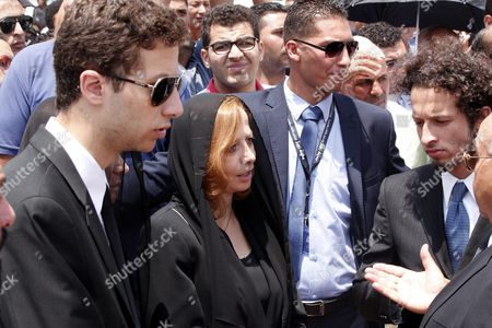 Stock Image of Dema Faham (2-l) the Widow of Chemistry Nobel Prize Laureate of 1999 Egyptian - Us Professor Ahmed Zewail During His Funeral at Zewail City in Giza 07 August 2016 Ahmed Zewail Died in the Us Aged 70 He Won the Nobel Chemistry Prize in 1999 For His Study of Chemical Reaction in Extremely Short Timescales Also Known As Femtochemistry to Be the First Arab Scientist to Win the Nobel Prize He Will Be Buried in Egypt on 07 August 2016 Egypt Giza