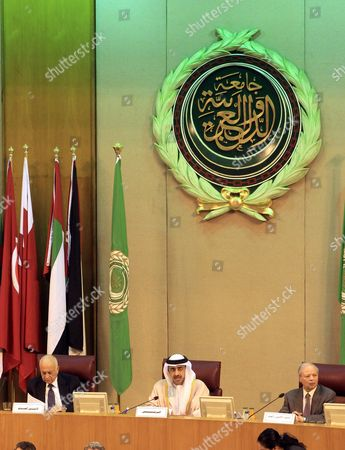 United Arab Emirates (uae) Foreign Relations Minister Sheikh Abdullah Bin Zayed Al Nahyan (c) Arab League Secretary General Nabil Al-arabi (l) Attend the Arab Foreign Ministers Emergency Meeting at the League Headquarters in Cairo Egypt 10 January 2016 the Arab League Foreign Ministers Meet in Cairo to Discuss the Saudi-iranian Tensions Egypt Cairo
